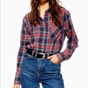 Topshop washed check long sleeved shirt